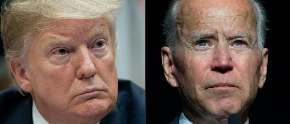 This combination of pictures created on March 18, 2019 shows (l-r) US President Donald Trump listens during a meeting on drug trafficking on the southern border of the U.S. in the Roosevelt Room of the White House in Washington, D.C., March 13, 2019, former U.S. Vice President Joe Biden speaks during the First State Democratic Dinner in Dover, Delaware, on March 16, 2019, (Photos by SAUL LOEB and JIM WATSON / AFP) (Photo credit should read SAUL LOEB,JIM WATSON/AFP/Getty Images)