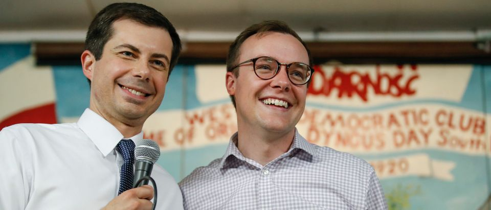 South Bend Mayor and Democratic presidential candidate Pete Buttigieg (L) speaks beside husband Chasten Glezman at the West Side Democratic Club during a Dyngus Day celebration event on Monday, April 22, 2019 in South Bend, Indiana. (Photo: KAMIL KRZACZYNSKI/AFP/Getty Images)