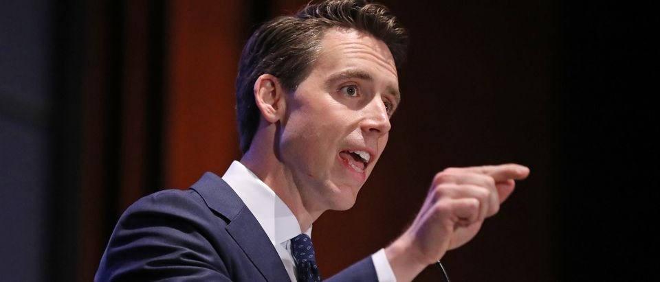 Sen. Josh Hawley addresses the Faith and Freedom Coalition's Road to Majority Policy Conference at the U.S. Capitol Visitor's Center Auditorium June 27, 2019 in Washington, D.C. (Photo by Chip Somodevilla/Getty Images)