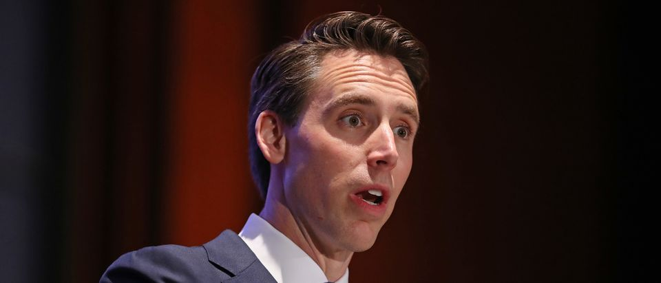 Sen. Josh Hawley (R-MO) addresses the Faith and Freedom Coalition's Road to Majority Policy Conference at the U.S. Capitol Visitor's Center Auditorium June 27, 2019 in Washington, DC. (Chip Somodevilla/Getty Images)