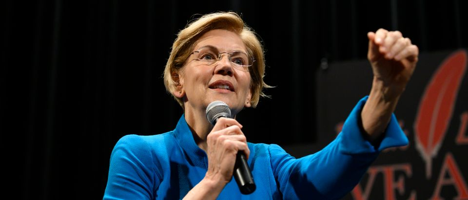 Democratic presidential candidate Sen. Elizabeth Warren speaks at the Frank LaMere Native American Presidential Forum on Aug. 19, 2019 in Sioux City, Iowa. (Photo by Stephen Maturen/Getty Images)