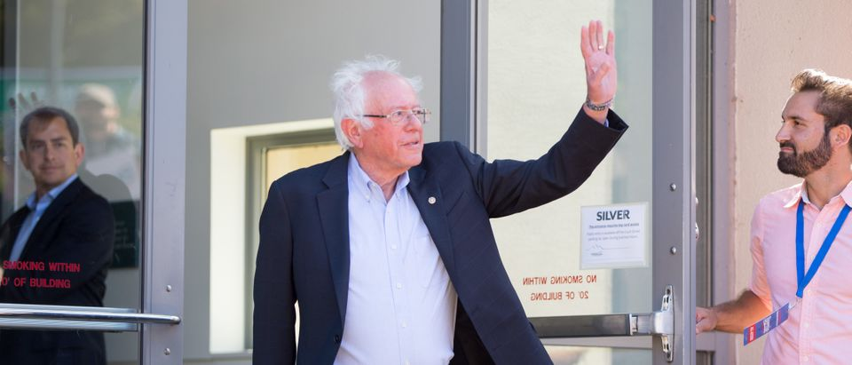 Democratic presidential candidate, Sen. Bernie Sanders (I-VT) waves as he walks towards the stage during a campaign event at Plymouth State University on September 29, 2019 in Plymouth, New Hampshire. (Scott Eisen/Getty Images)