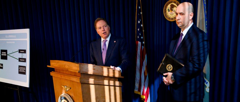 US Attorney for the Southern District of New York Geoffrey Berman, with FBI New York Office Assistant Director-in-Charge, William Sweeney, speaks during a press conference October 10, 2019. (JOHANNES EISELE/AFP via Getty Images)
