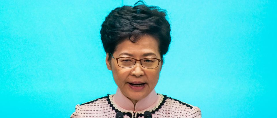 Hong Kong Chief Executive Carrie Lam speaks at a press conference on October 16, 2019 in Hong Kong. (Photo by Billy H.C. Kwok/Getty Images)