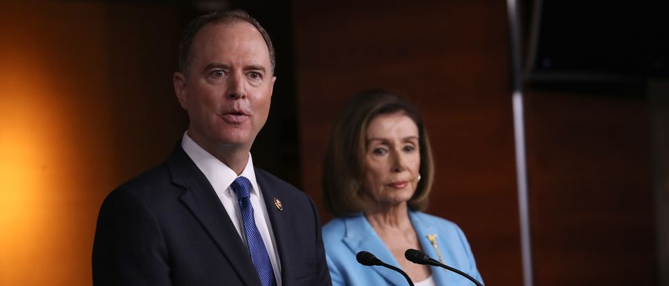 House Select Committee on Intelligence Chairman Rep. Adam Shiff (D-CA) and Speaker of the House Nancy Pelosi (D-CA) answer questions at the U.S. Capitol October 2, 2019 in Washington, DC. (Win McNamee/Getty Images)