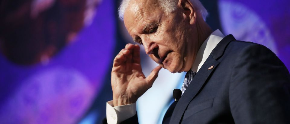LOS ANGELES, CALIFORNIA - OCTOBER 04: Democratic U.S. presidential candidate and former Vice President Joe Biden pauses while speaking at the SEIU Unions for All Summit on October 4, 2019 in Los Angeles, California. Eight Democratic Presidential candidates were scheduled to speak today and tomorrow at the summit. The presidential primary in California will be held on March 3, 2020. (Photo by Mario Tama/Getty Images)