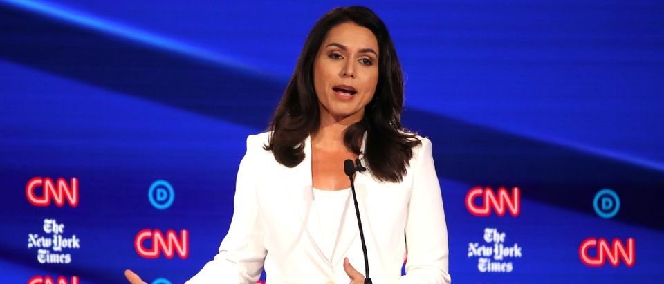 Rep. Tulsi Gabbard (D-HI) speaks during the Democratic Presidential Debate at Otterbein University on October 15, 2019 in Westerville, Ohio. (Win McNamee/Getty Images)