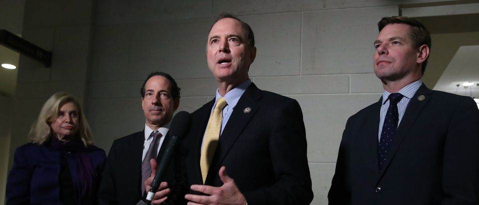 U.S. House Intelligence Committee Chairman Rep. Adam Schiff speaks to members of the media outside a closed session before the House Intelligence, Foreign Affairs and Oversight committees at the U.S. Capitol on Oct. 28, 2019. (Mark Wilson/Getty Images)