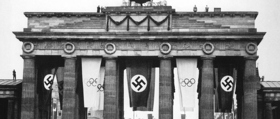 Here is a general view of the Brandenburge Gate as Germany hosts the XI Olympic Games in August of 1936 in Berlin, Germany. (Photo by Getty Images)