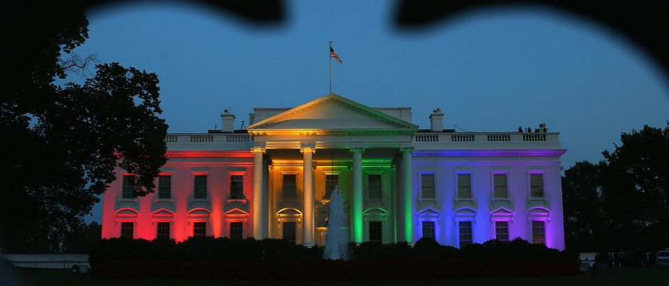 Rainbow-colored lights shine on the White House to celebrate today's US Supreme Court ruling in favor of same-sex marriage June 26, 2015 in Washington, D.C. (Photo by Mark Wilson/Getty Images)