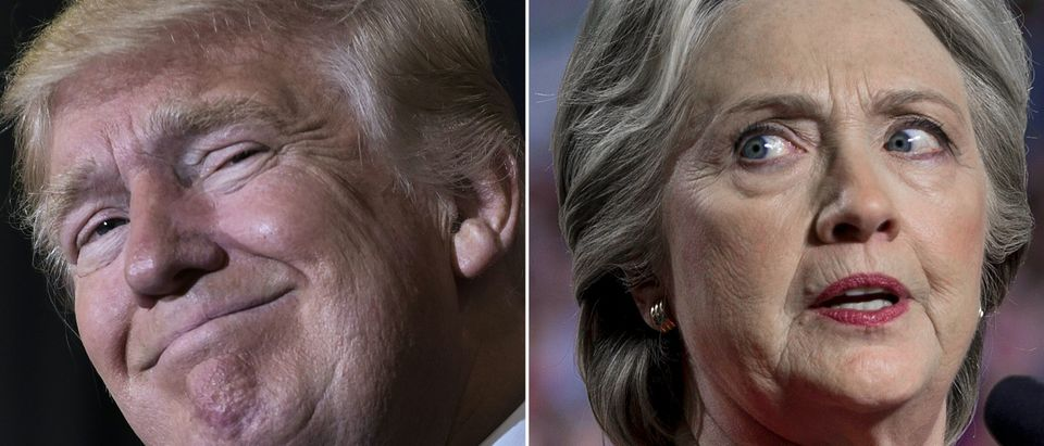 This combination of pictures created on Nov. 8, 2016 shows U.S. Republican presidential nominee Donald Trump in Tampa, Florida, on Nov. 5, 2016 and Democratic presidential nominee Hillary Clinton in Allendale, Michigan, on Nov. 7, 2016. (MANDEL NGAN,BRENDAN SMIALOWSKI/AFP via Getty Images)