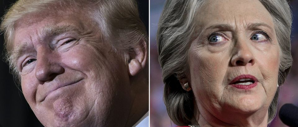 This combination of pictures created on November 08, 2016 shows US Republican presidential nominee Donald Trump in Tampa, Florida on November 5, 2016 and Democratic presidential nominee Hillary Clinton in Allendale, Michigan on November 7, 2016. (MANDEL NGAN,BRENDAN SMIALOWSKI/AFP/Getty Images)
