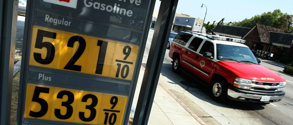 Gasoline prices over $5.00 per gallon are displayed at a Shell station June 23, 2008 in San Mateo, California. (Photo by Justin Sullivan/Getty Images)