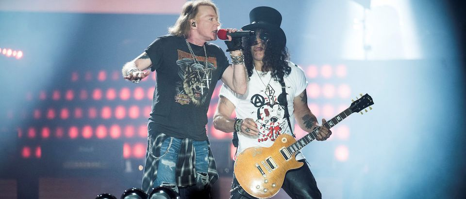 Axl Rose, lead singer of American rock band Guns N' Roses, performs with Slash at Parken Stadium in Copenhagen, Denmark June 27, 2017. Picture taken June 27, 2017. Scanpix Denmark/Mads Joakim Rimer Rasmussen via REUTERS