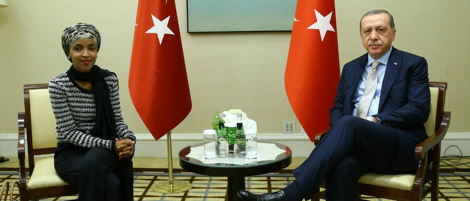 Ilhan Omar meeting with Recep Tayyip Erdogan at 72nd UN General Assembly in New York City, in Sept. 2017. Yasin Bulbul/Anadolu Agency/Getty Images