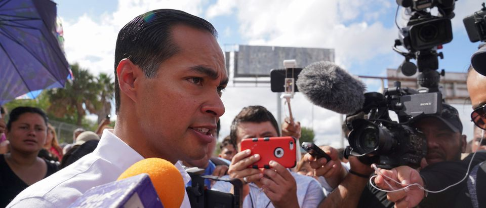Democratic U.S. presidential candidate Julian Castro talks to the media as he visits refugees who are attempting to seek asylum in the U.S, in Matamoros, Mexico, Oct. 7, 2019. REUTERS/Veronica G. Cardenas