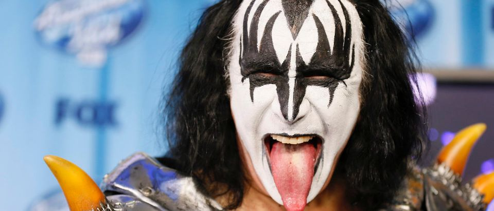 Gene Simmons of the band Kiss poses backstage at the American Idol XIII 2014 Finale in Los Angeles, California May 21, 2014. REUTERS/Danny Moloshok