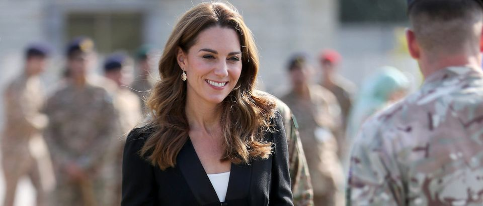 Catherine, Duchess of Cambridge visits an Army Canine Centre, where Britain provides support to a programme that trains dogs to identify explosive devices, in Islamabad, Pakistan October 18, 2019. Chris Jackson/Pool via REUTERS