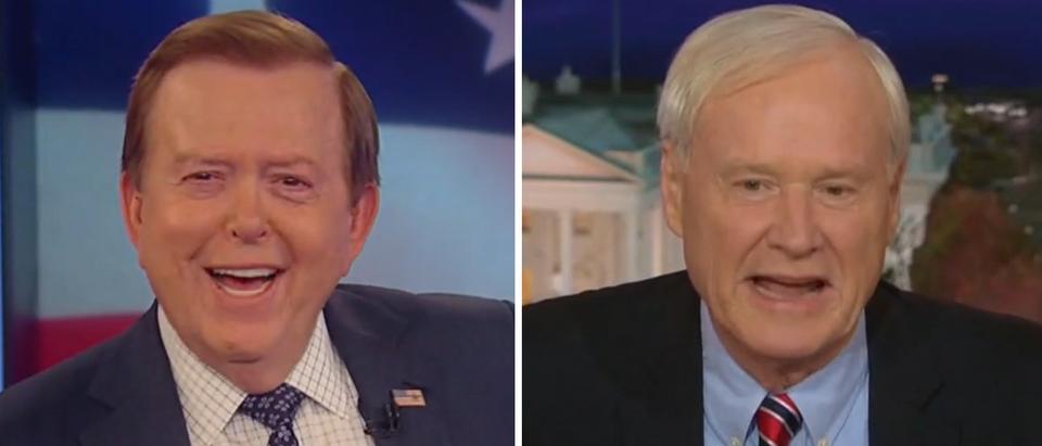 Lou Dobbs brushes off Chris Matthews criticism (Fox Business and CNN screengrabs)