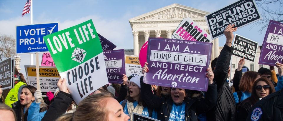 """Pro-life activists participate in the """"March for Life"""" outside the Supreme Court on January 18, 2019. (Saul Loeb/AFP/Getty Images)"""