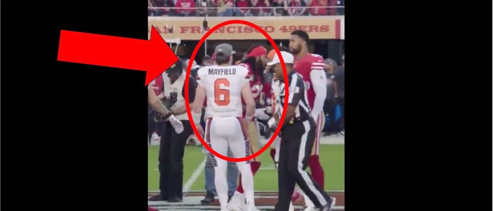 Baker Mayfield, Richard Sherman Handshake Video (Credit: Screenshot/Twitter Video https://twitter.com/Jake_Trotter/status/1181624570454761474)
