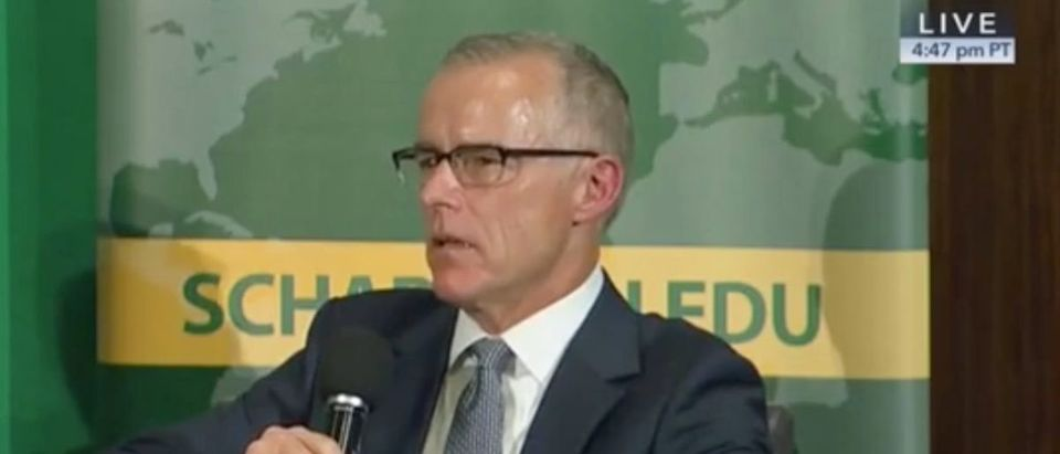 Former FBI Deputy Director Andrew McCabe speaks at event hosted by the Hayden Center, Oct. 30, 2019. (YouTube screen capture/C-SPAN)
