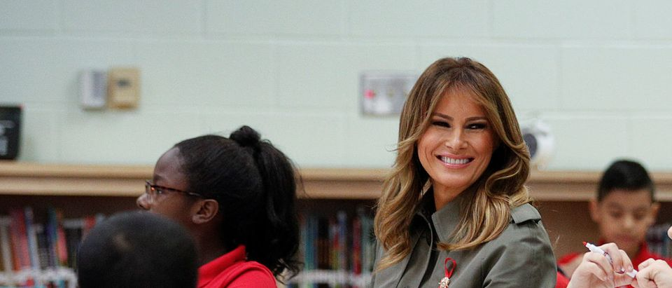 U.S. first lady Melania Trump visits with fifth-grade students participating in the Pillowcase Project, a Red Cross program designed to help kids prepare for natural disasters, at Lambs Elementary School in North Charleston, South Carolina, U.S., October 30, 2019. REUTERS/Tom Brenner
