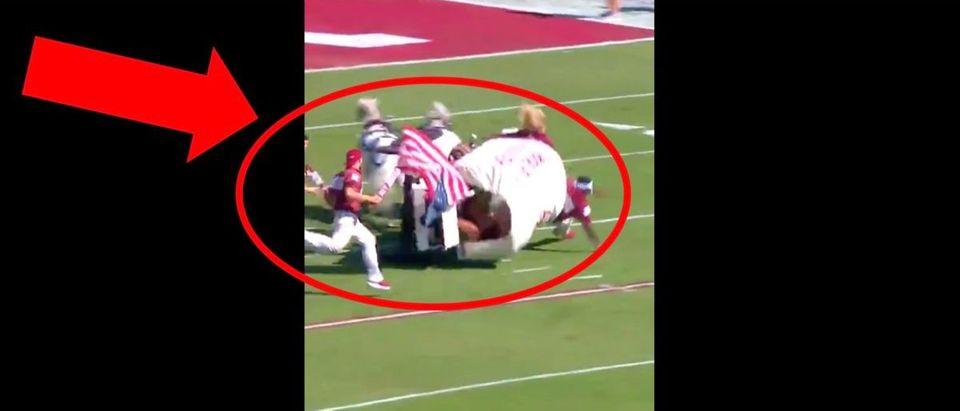 PETA, Oklahoma Football (Credit: Screenshot/Twitter Video https://twitter.com/peta/status/1185649279307665408?ref_src=twsrc%5Etfw)