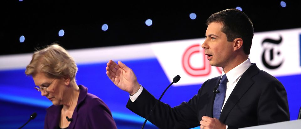 South Bend Mayor Pete Buttigieg speaks during the Democratic Presidential Debate at Otterbein University on October 15, 2019. (Win McNamee/Getty Images)