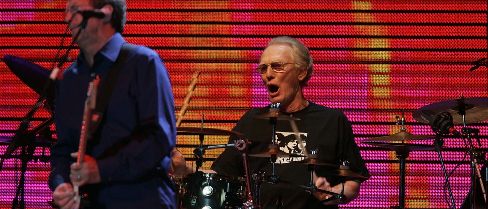 Drummer Ginger Baker performs as part of a Cream reunion concert at Madison Square Garden in New York Oct. 24, 2005. REUTERS/Brendan McDermid