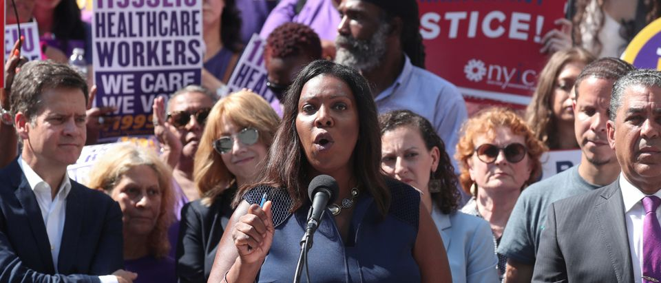 New York State Attorney General Letitia James makes an announcement regarding U.S. President Trump's public charge rule during a news conference in New York