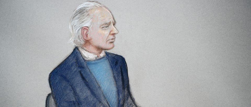 WikiLeaks founder Julian Assange is seen in the courtroom sketch during a case management hearing in Assange's U.S. extradition case at Westminster Magistrates Court, in London