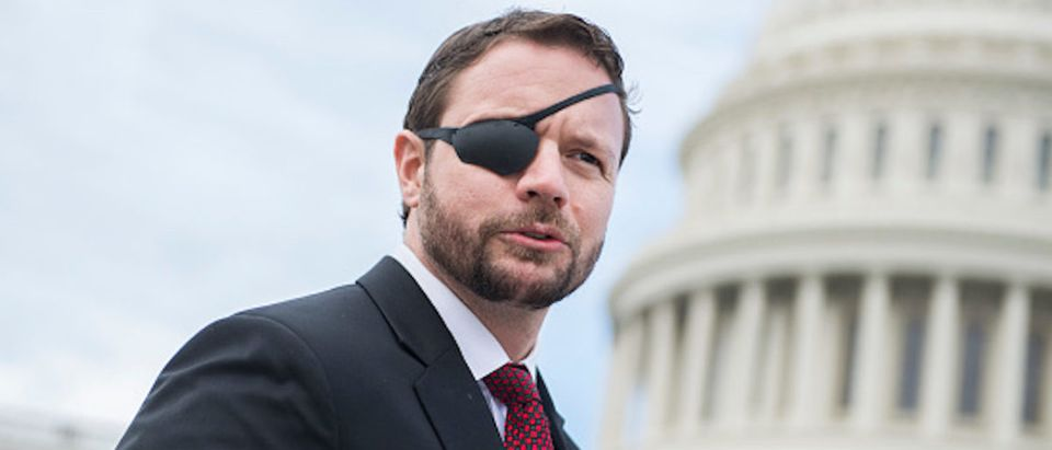 Rep.-elect Dan Crenshaw, R-Texas, is seen after the freshman class photo on the East Front of the Capitol on November 14, 2018