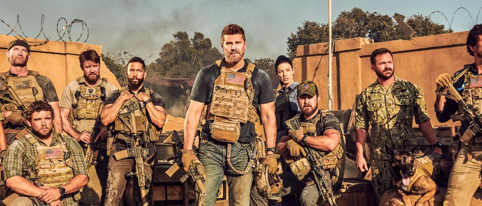 Gallery of (L-R) Toni Trucks as Lisa Davis, Scott Foxx as Full Metal, Max Thieriot as Clay Spenser, Tyler Grey as Trent Sawyer, Neil Brown Jr. as Ray Perry, David Boreanaz as Jason Hayes, Jessica Paré as Mandy Ellis, AJ Buckley as Sonny Quinn, Judd Lormand as Lt. Cdr. Eric Blackburn, Dita, and Justin Melnick as Brock Reynolds for SEAL TEAM on the CBS Television Network. Photo: Eric Ray Davidson/CBS ©2019 CBS Broadcasting, Inc. All Rights Reserved