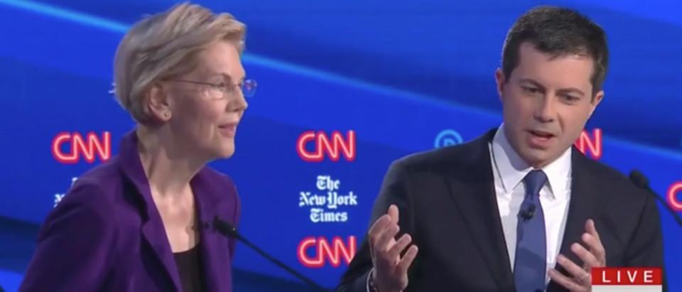 Elizabeth Warren and Pete Buttigieg square off during Democratic debate in Ohio. Screen Shot/CNN