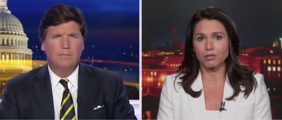 Rep. Tulsi Gabbard talks media with Tucker Carlson. Screen Shot/Fox News