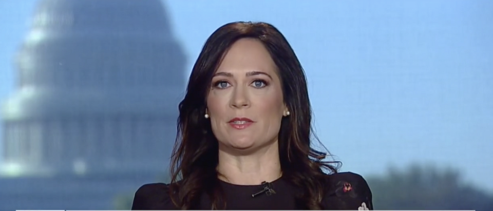 "White House Press Secretary Stephanie Grisham backed up President Donald Trump's comments about never Trumpers being ""human scum."" (Screenshot Fox News, Fox & Friends)"