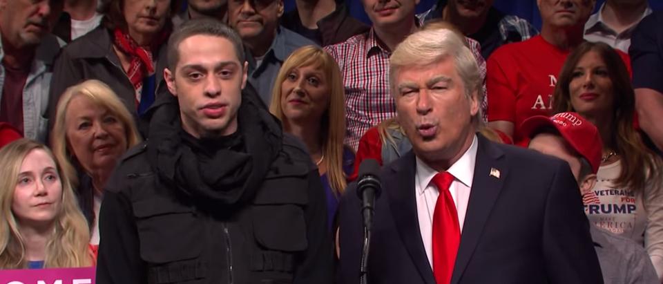 "Pete Davidson and Alec Baldwin mock Trump rally on ""Saturday Night Live."" Screen Shot/NBC"