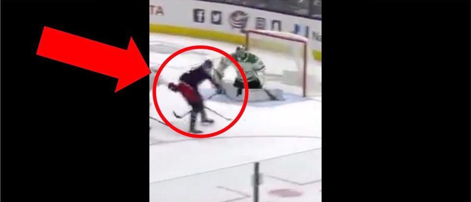 Sonny Milano (Credit: Screenshot/Twitter Video https://twitter.com/NHL/status/1184643152042496000)