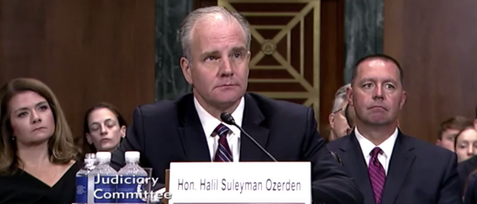 U.S. District Judge Sul Ozerden testifies before the Senate Judiciary Committee in July 2019. (Screenshot/First Liberty Institute)