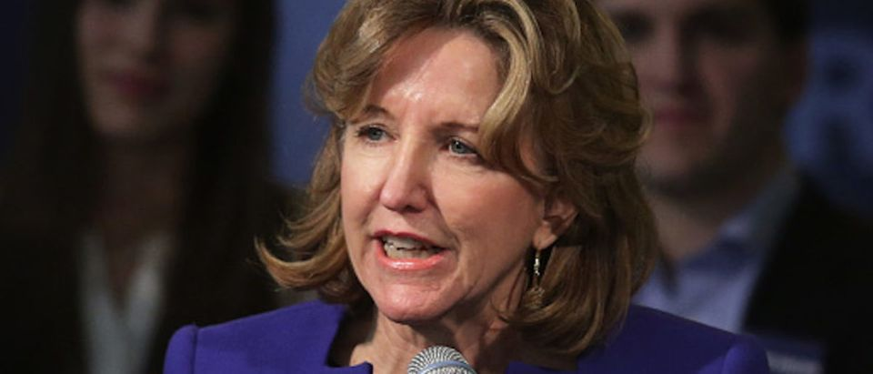U.S. Sen. Kay Hagan (D-NC) concedes as she speaks to supporters during her election night party November 4, 2014 in Greensboro, North Carolina