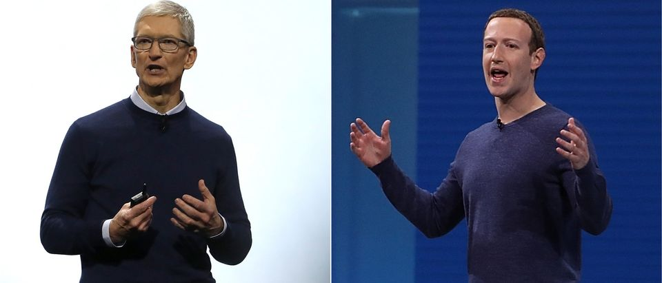 Tim Cook and Mark Zuckerberg are pictured side-by-side. Getty Images collage