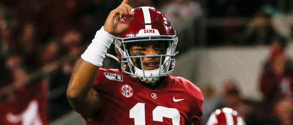 Oct 19, 2019; Tuscaloosa, AL, USA; Alabama Crimson Tide quarterback Tua Tagovailoa (13) celebrates after a touchdown during the first half of an NCAA football game against the Tennessee Volunteers at Bryant-Denny Stadium. Mandatory Credit: Butch Dill-USA TODAY Sports - via Reuters