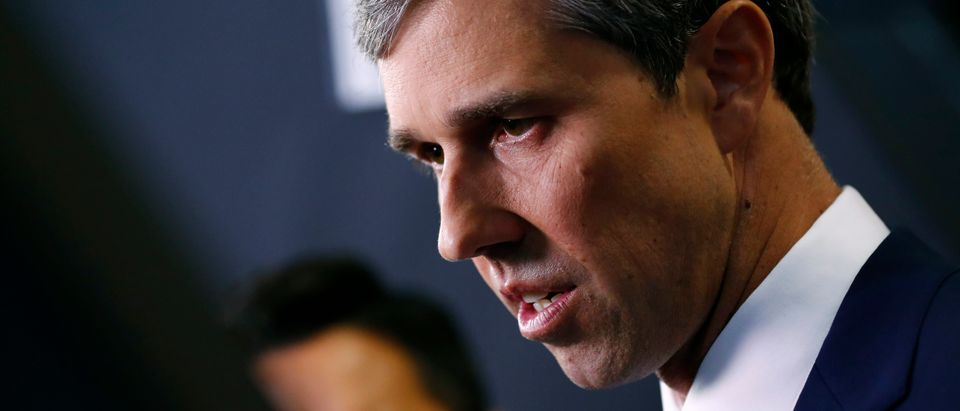 Former Rep. Beto O'Rourke talks to reporters in the Spin Room after the fourth Democratic U.S. 2020 presidential election debate at Otterbein University in Westerville, Ohio October 15, 2019. REUTERS/Aaron Josefczyk