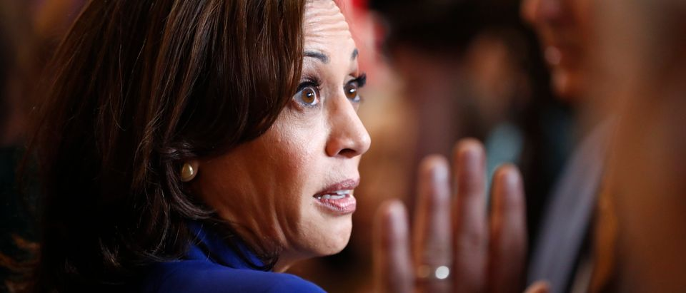 Democratic presidential candidate Senator Kamala Harris arrives in the Spin Room to talk to reporters after the conclusion of the fourth Democratic U.S. 2020 presidential election debate at Otterbein University in Westerville, Ohio October 15, 2019. REUTERS/Aaron Josefczyk