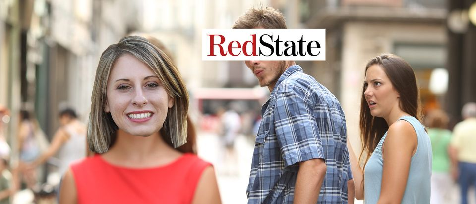 Katie Hill, Distracted Boyfriend (Getty Images, Shutterstock, Daily Caller)