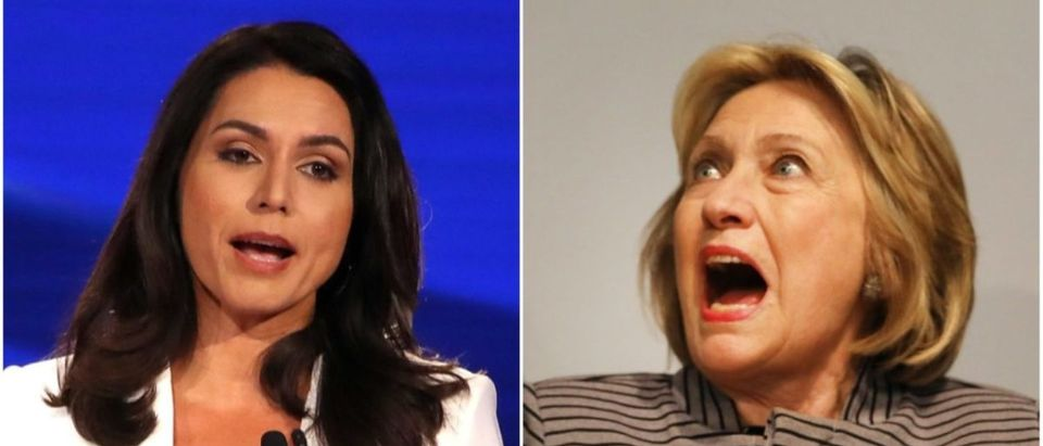 Left: Tulsi Gabbard (Getty Images), Right: Hillary Clinton (Getty Images)