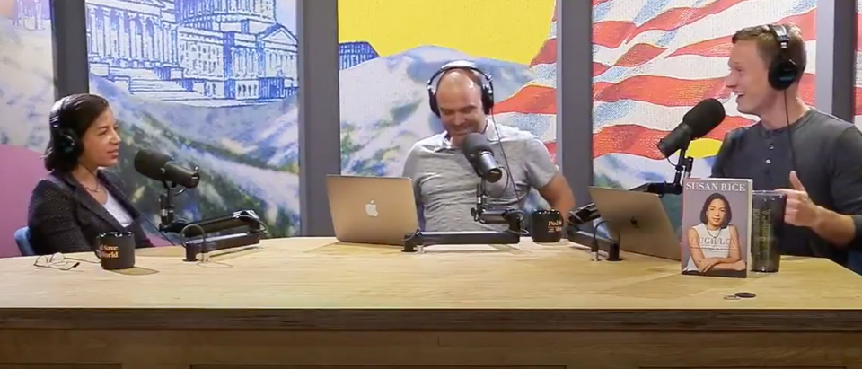 Susan Rice appears on 'Pod Save the World' with Ben Rhodes and Tommy Vietor. Screen Shot/Twitter/PodSavetheWorld