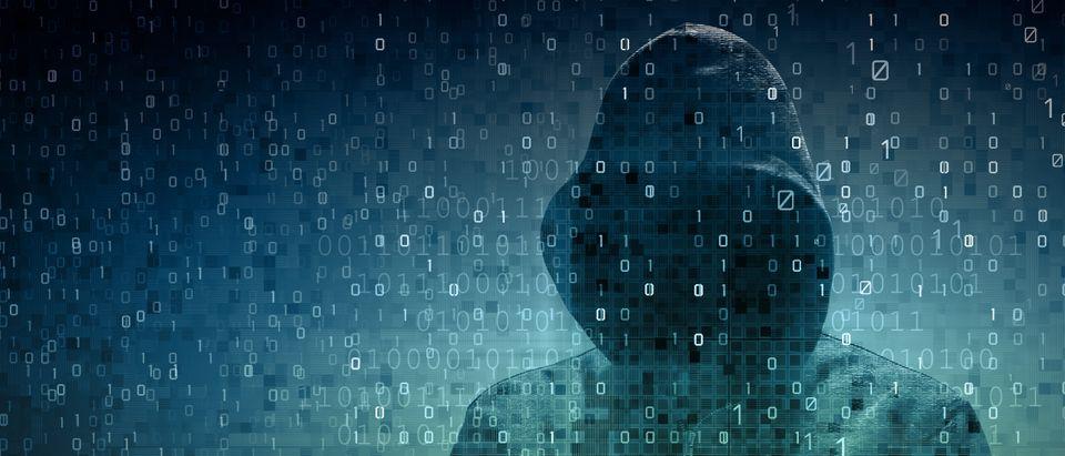 hacker over a screen with binary code. (Shutterstock/adike)