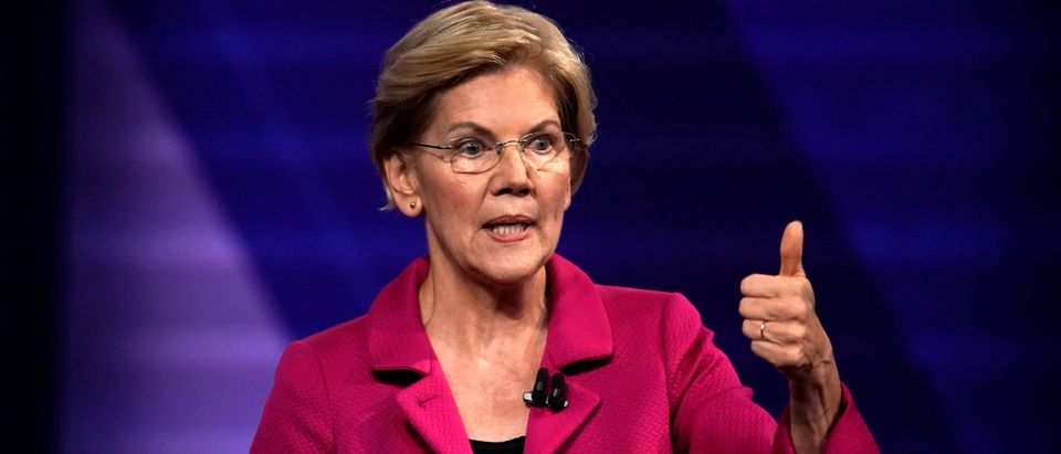 Democratic 2020 U.S. presidential candidate Senator Elizabeth Warren (D-MA) gestures during a televised townhall on CNN dedicated to LGBTQ issues in Los Angeles, California, U.S. October 10, 2019. REUTERS/Mike Blake